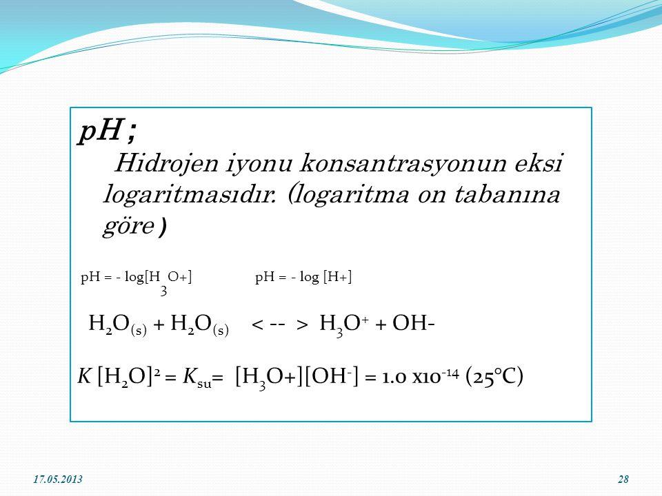 pH ; Hidrojen iyonu konsantrasyonun eksi logaritmasıdır. (logaritma on tabanına göre ) pH = - log[H3O+] pH = - log [H+]
